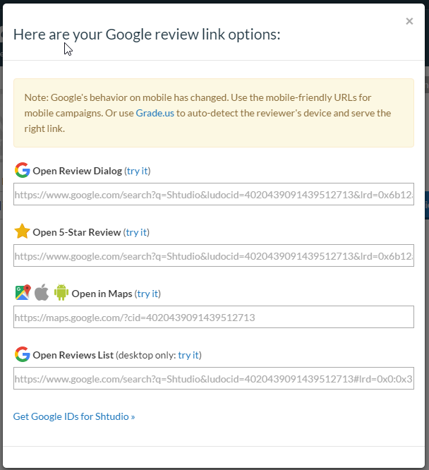 Link to your Google business review page - Shtudio — Graphic design